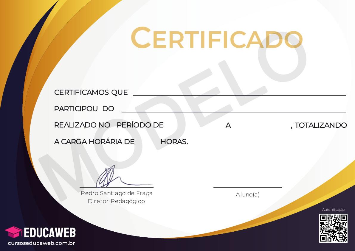 Cursos online com certificado - Modelo Certificado Frente
