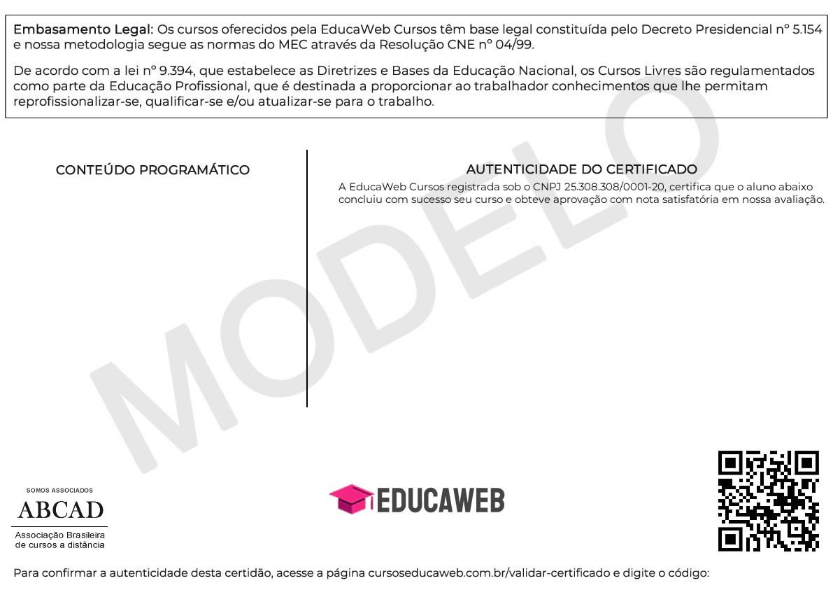Cursos Online Grátis - Modelo Certificado Verso